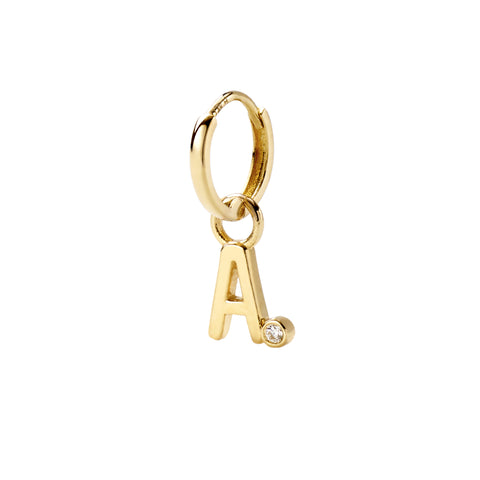 Letter A Diamond Huggy - Alison Lou - Earrings | Broken English Jewelry