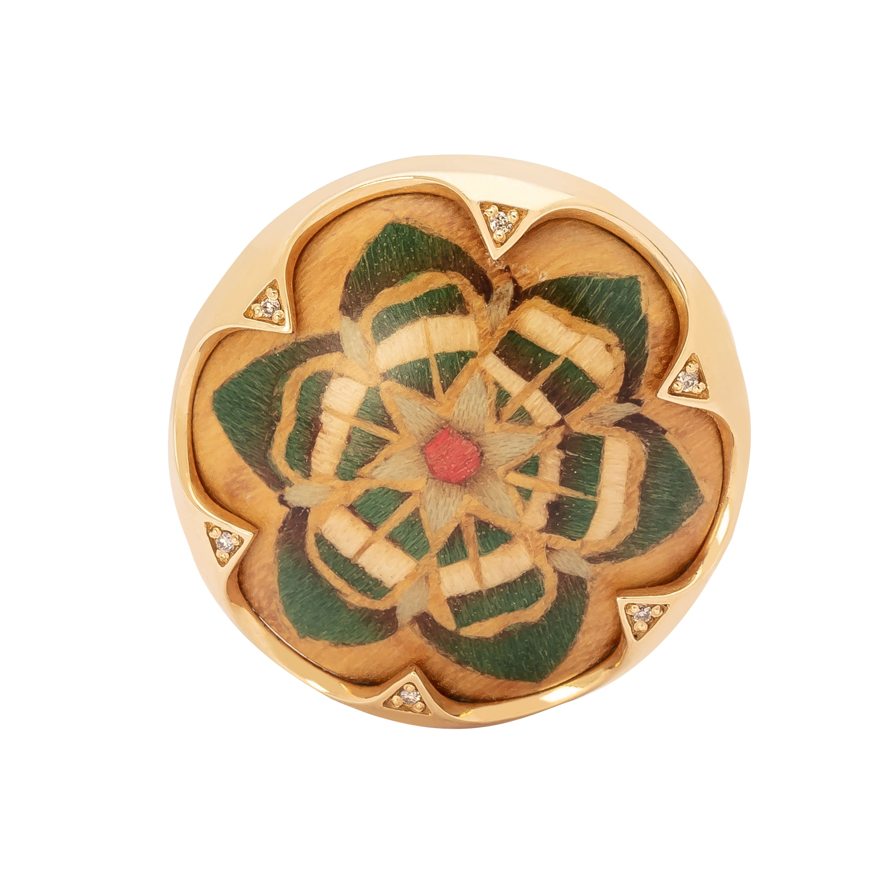 Silvia Furmanovich Marquetry Green Rosacea Ring - Rings - Broken English Jewelry