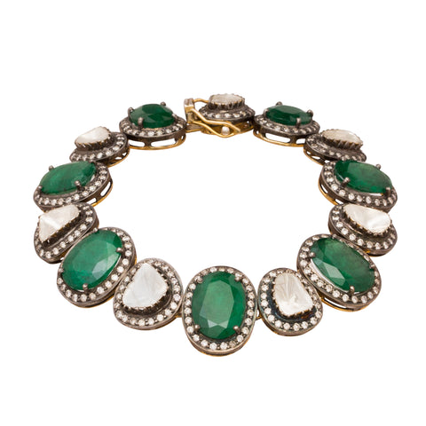 Diamond & Emerald Bracelet by Legend Amrapali for Broken English Jewelry
