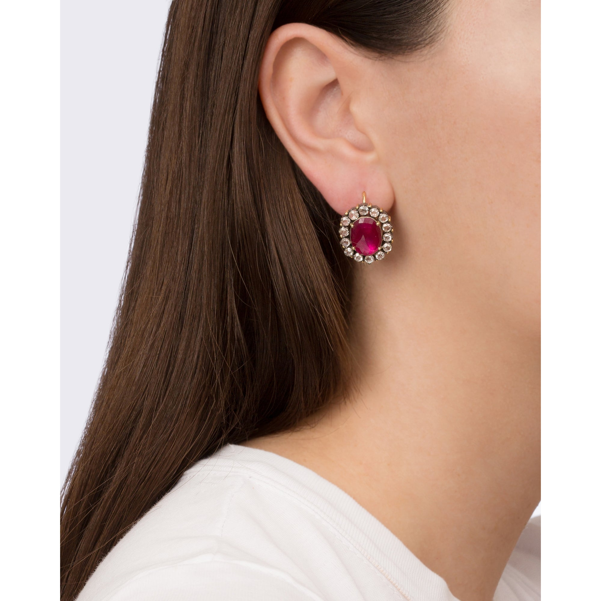 Diamond & Ruby Earrings by Legend Amrapali for Broken English Jewelry