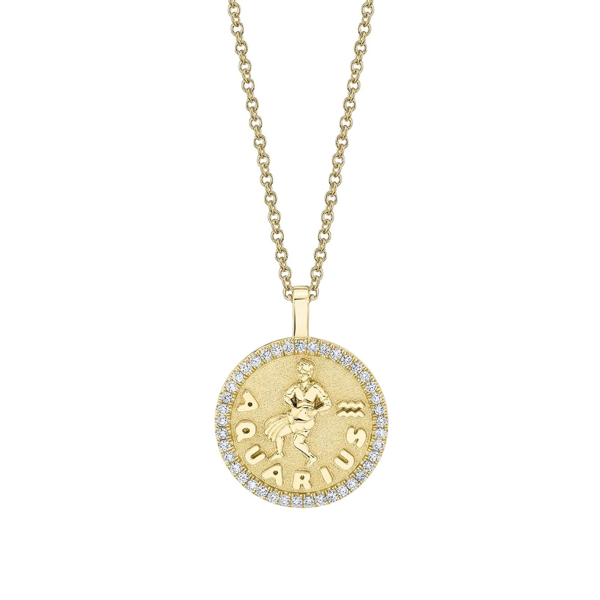 Anita Ko Aquarius Zodiac Coin Pendant With Diamond Frame - Necklaces - Broken English Jewelry