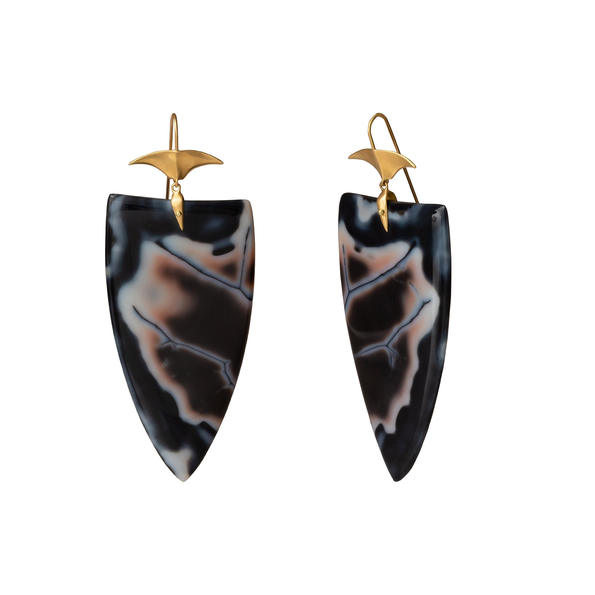 Long Agate Arrowhead Drop Earrings - Annette Ferdinansen - Earrings | Broken English Jewelry