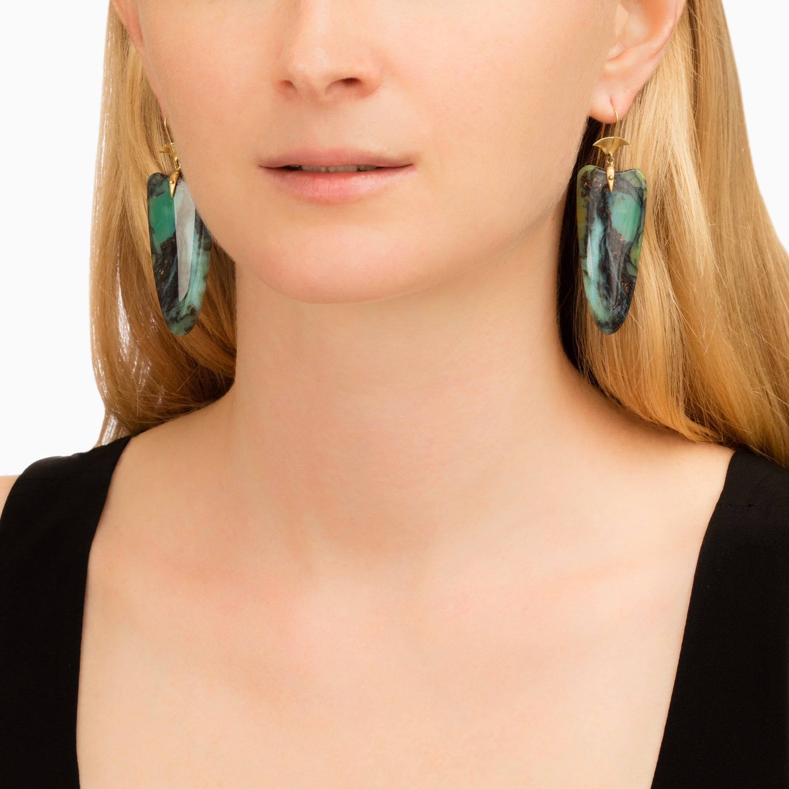 Indonesian Opalized Wood Arrowhead Drop Earrings