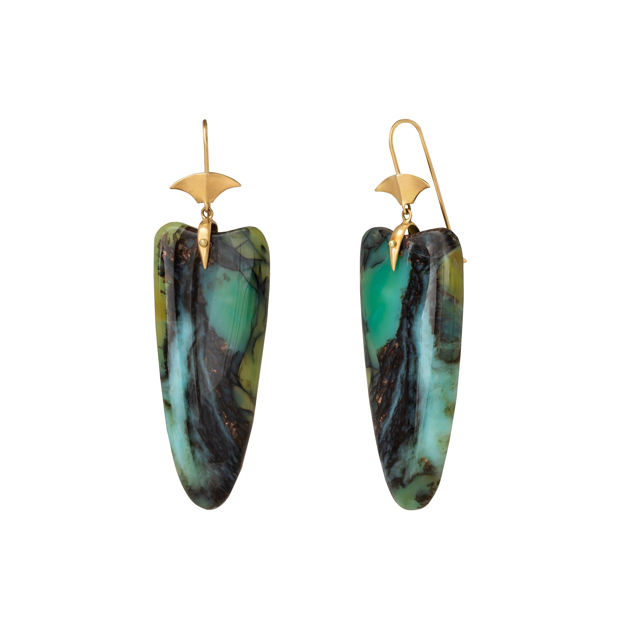 Indonesian Opalized Wood Arrowhead Drop Earrings  - Annette Ferdinansen - Earrings | Broken English Jewelry