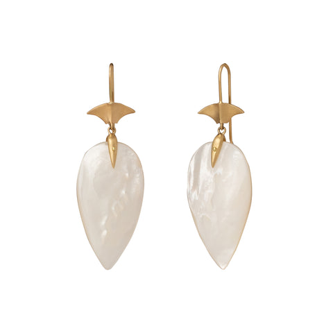 Mother of Pearl Long Arrowhead Drop Earrings - Annette Ferdinansen - Earrings | Broken English Jewelry