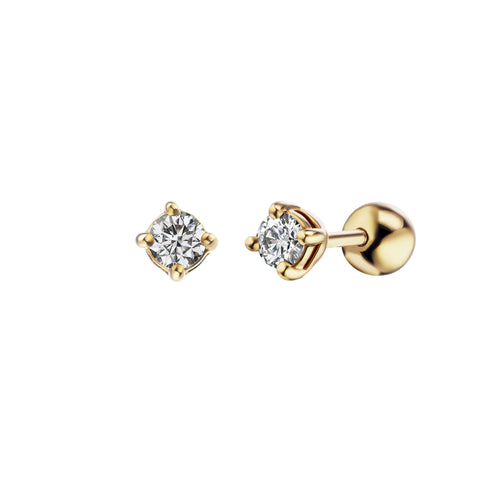White Diamond 3mm Screw Stud - Altruist - Earrings | Broken English Jewelry