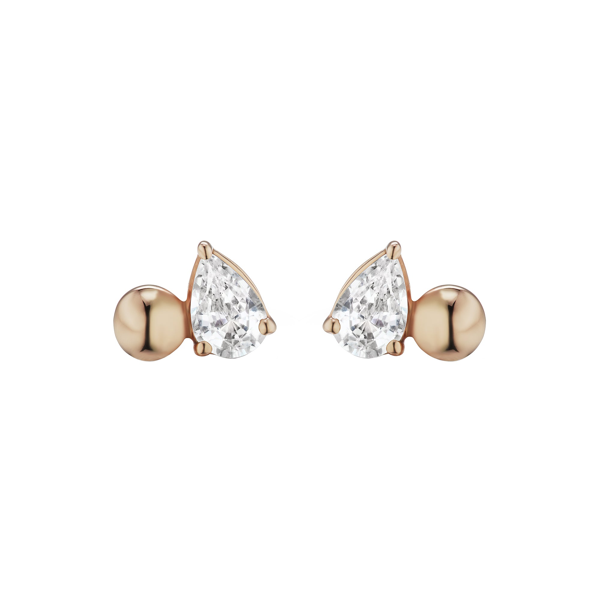 White Sapphire Pirum Sphera Studs by Altruist for Broken English Jewelry
