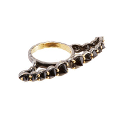 Wide Black Diamond Ring