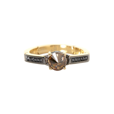 Brown and Black Diamond Ring