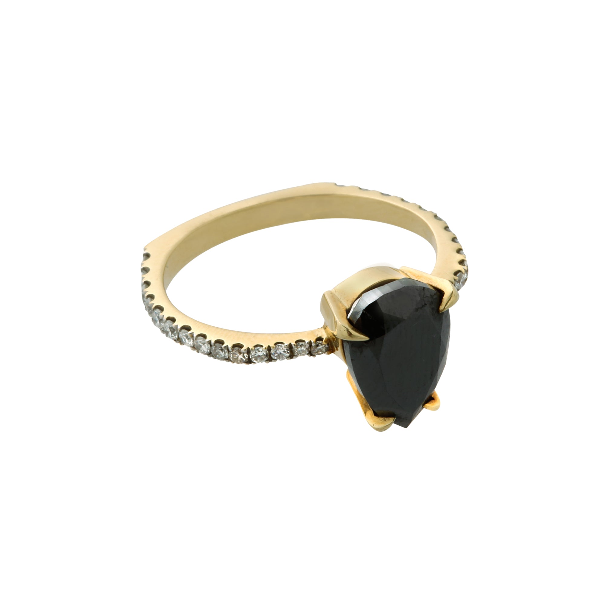 Pear-Shaped Black Diamond Ring