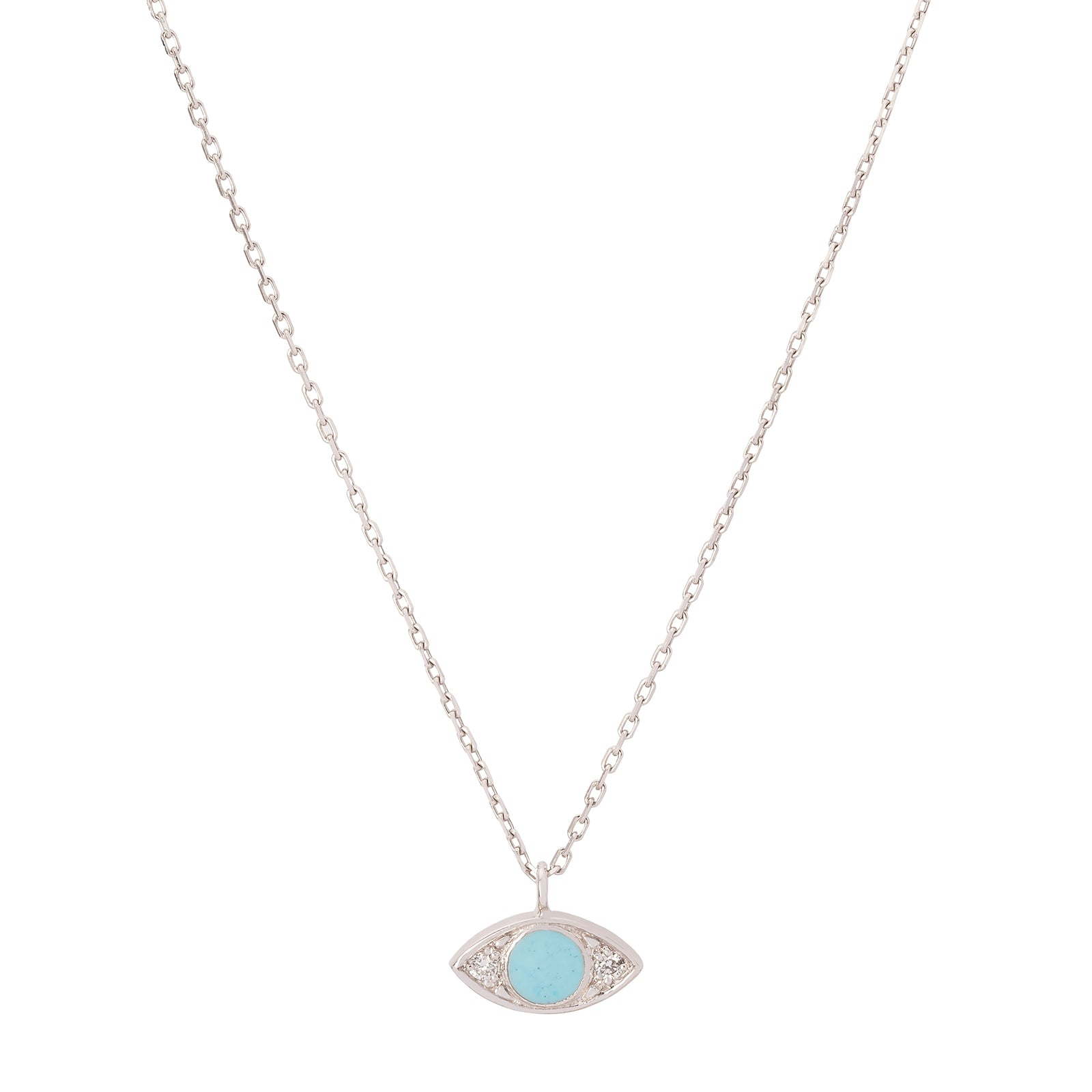 Gigi Clozeau Eye Diamond Necklace - Turquoise - Necklaces - Broken English Jewelry