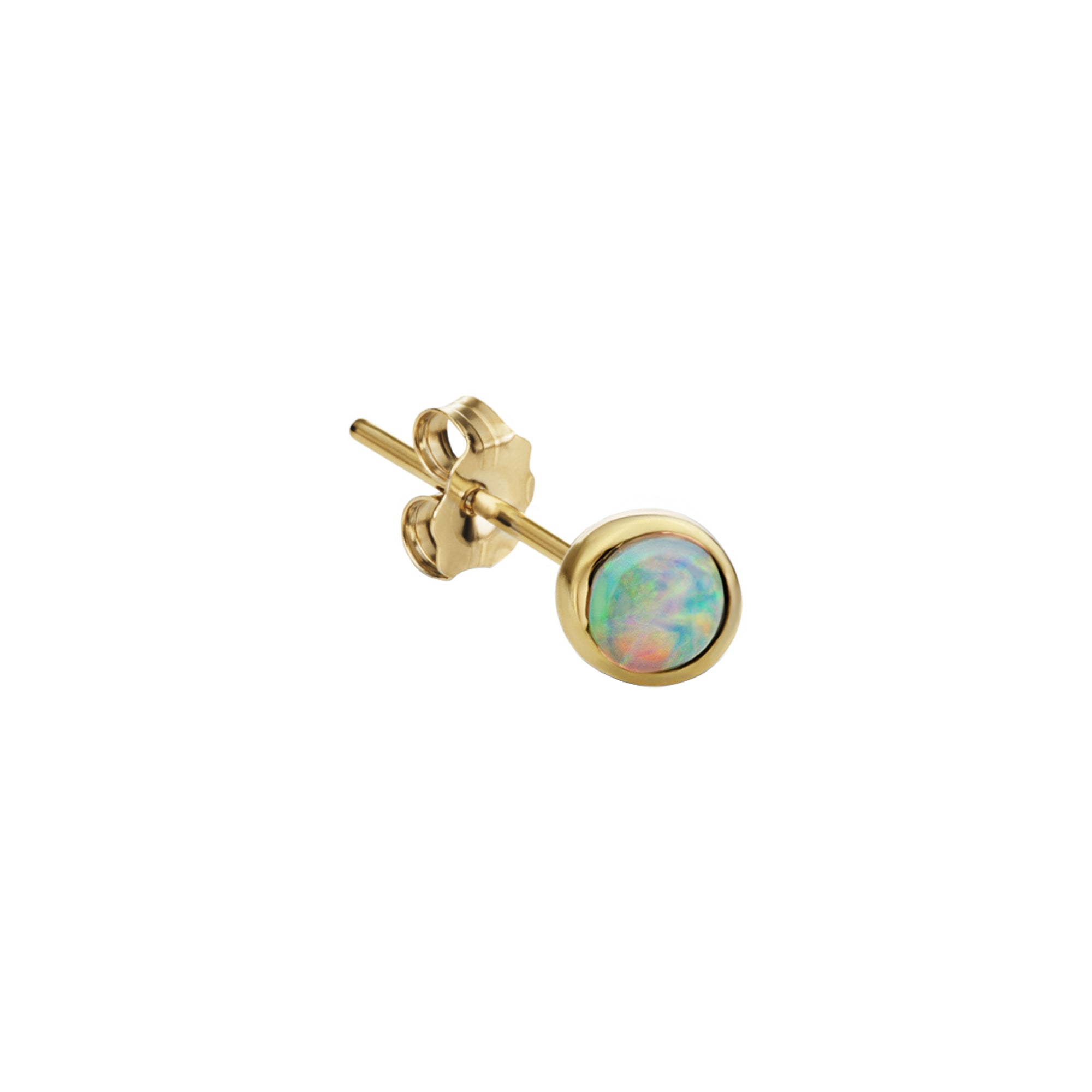 Maria Tash Opal Stud 4mm - Gold - Earrings - Broken English Jewelry