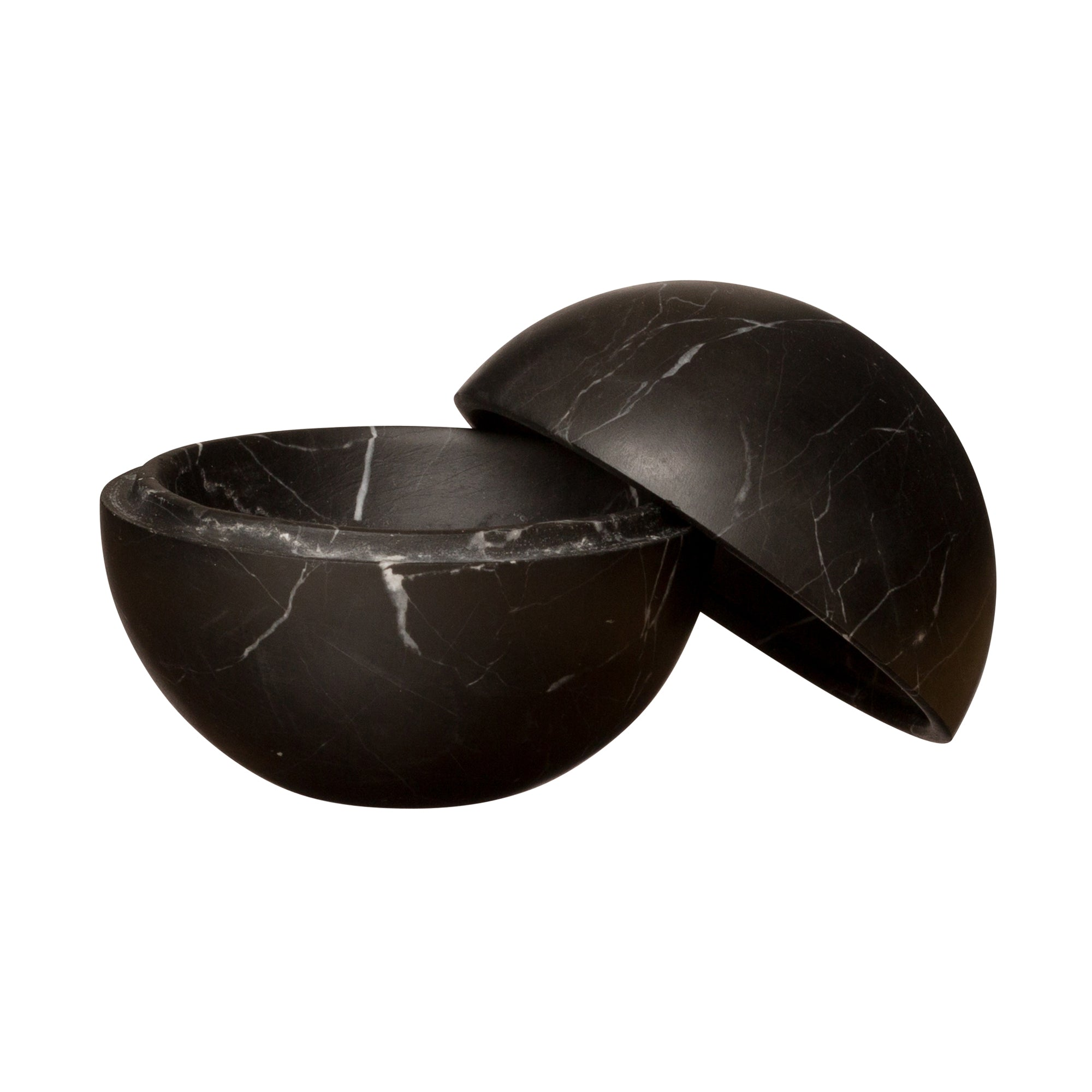 Small Black Marble Sphere Box