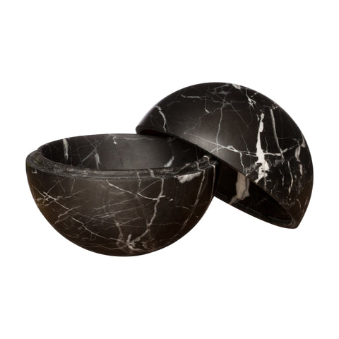 Medium Black Marble Sphere Box