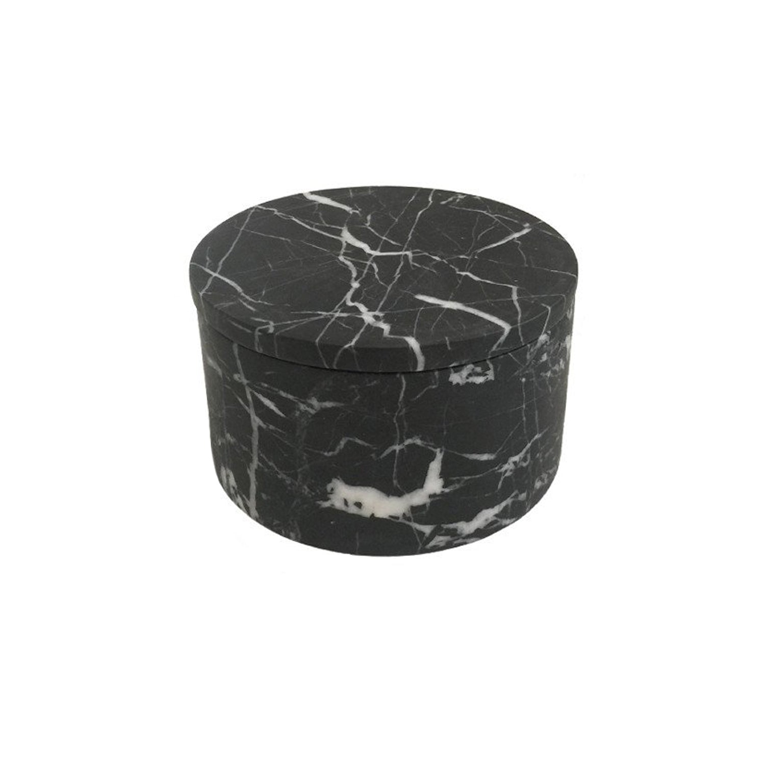 Small Black Marble Cylinder Box