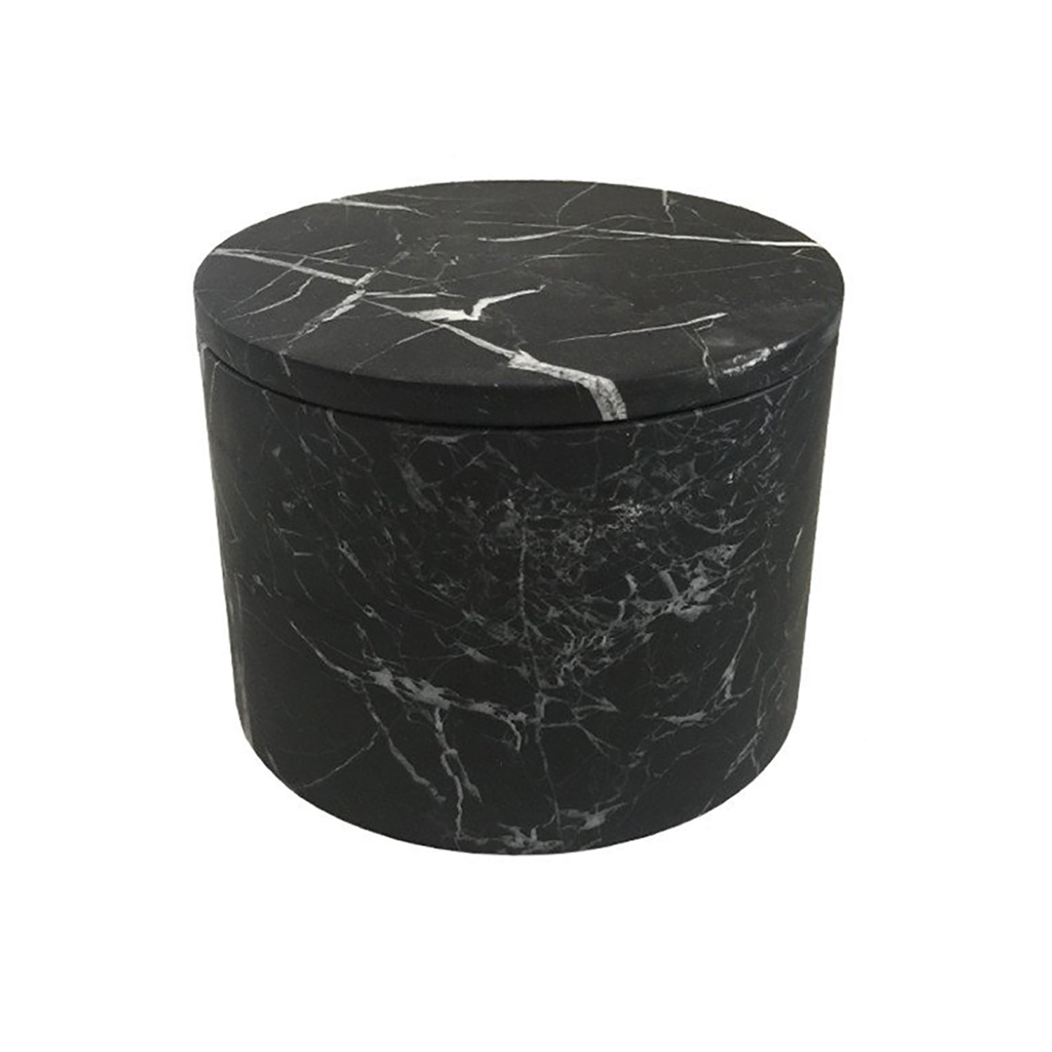 Medium Black Marble Cylinder Box