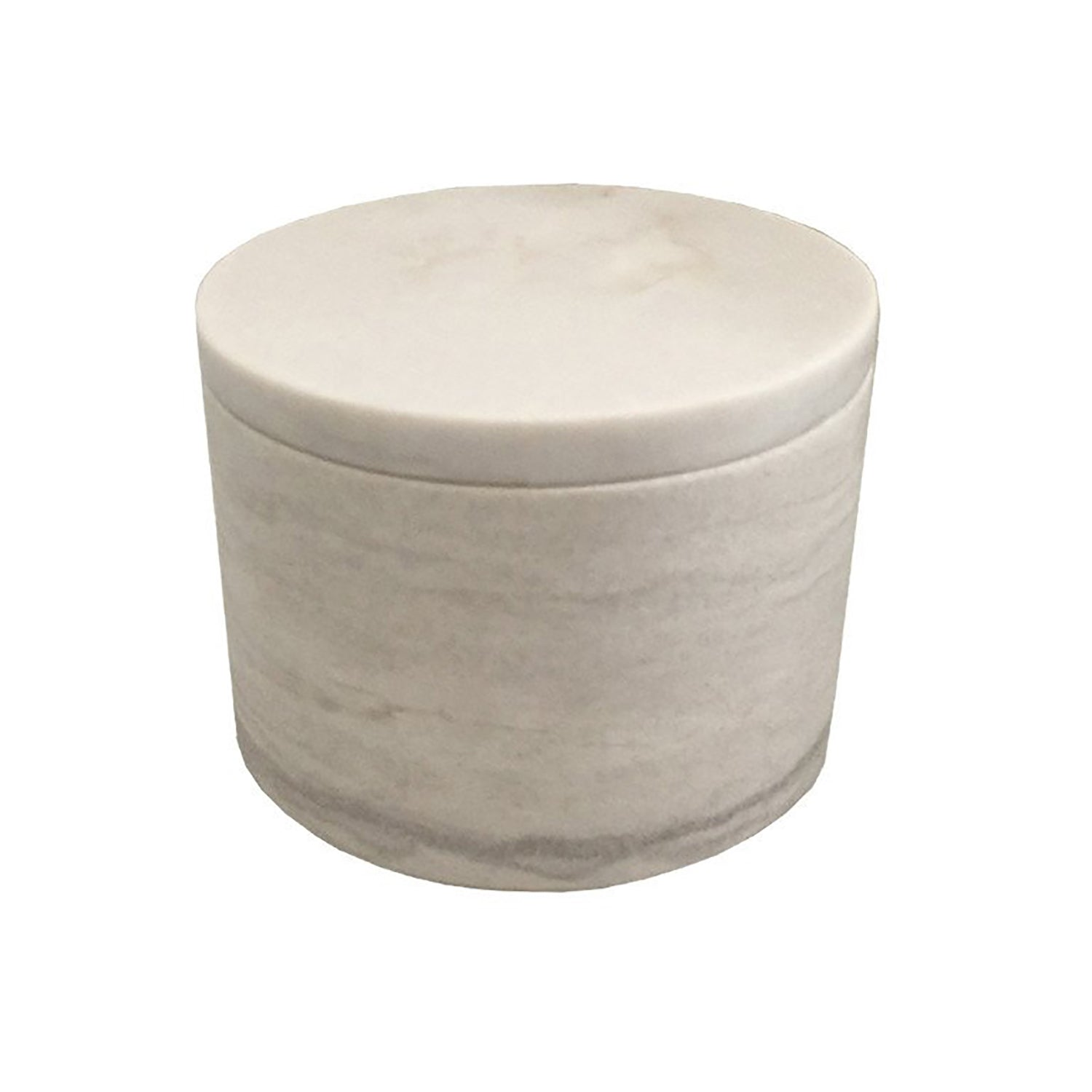 Medium White Marble Cylinder Box