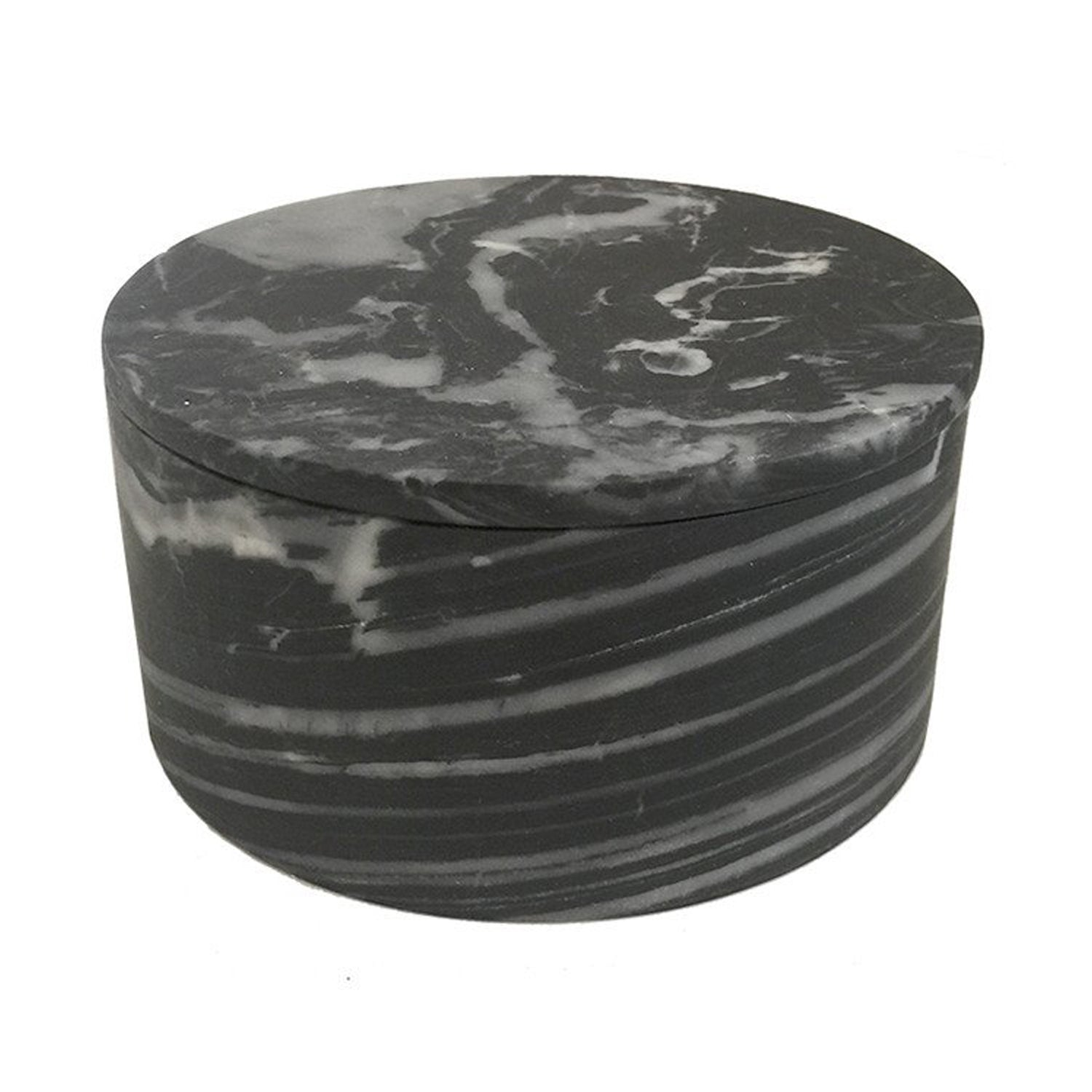 Large Grey Marble Cylinder Box
