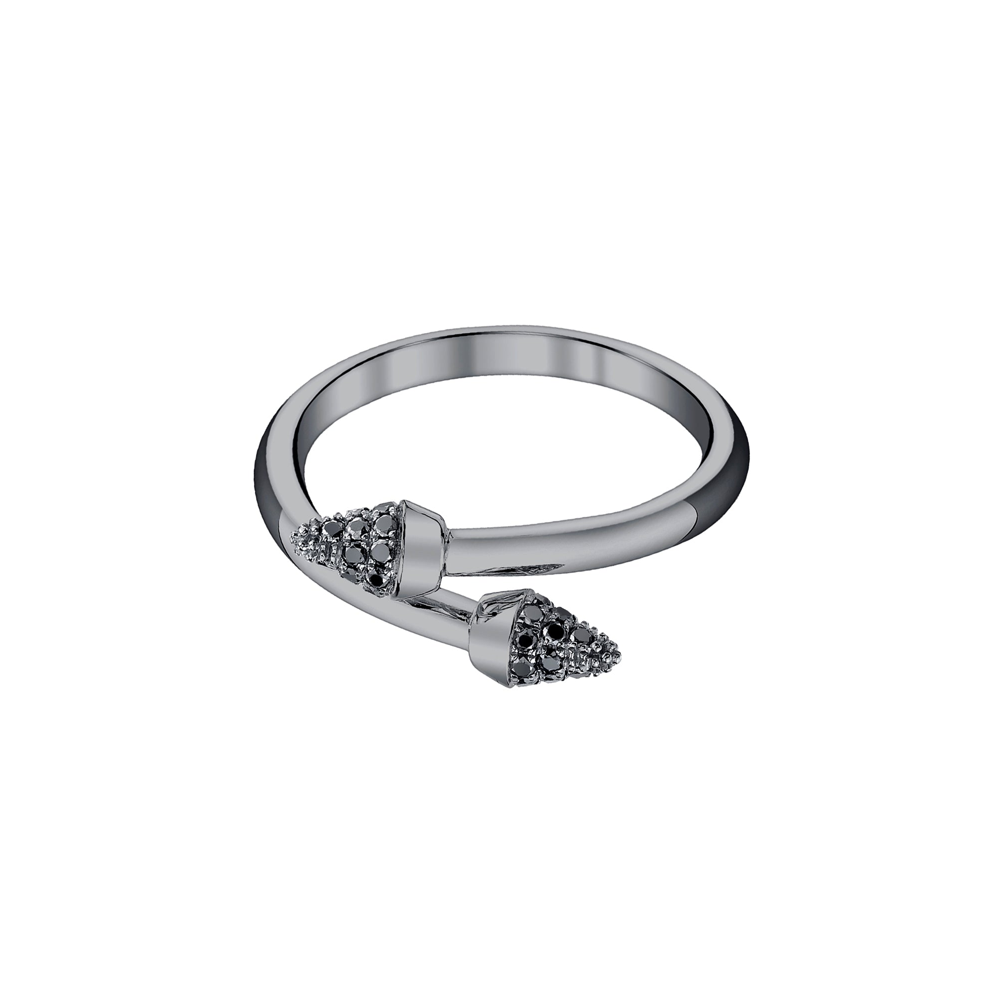 Black Rhodium & Black Diamond Stackable Spike Band by Borgioni for Broken English Jewelry