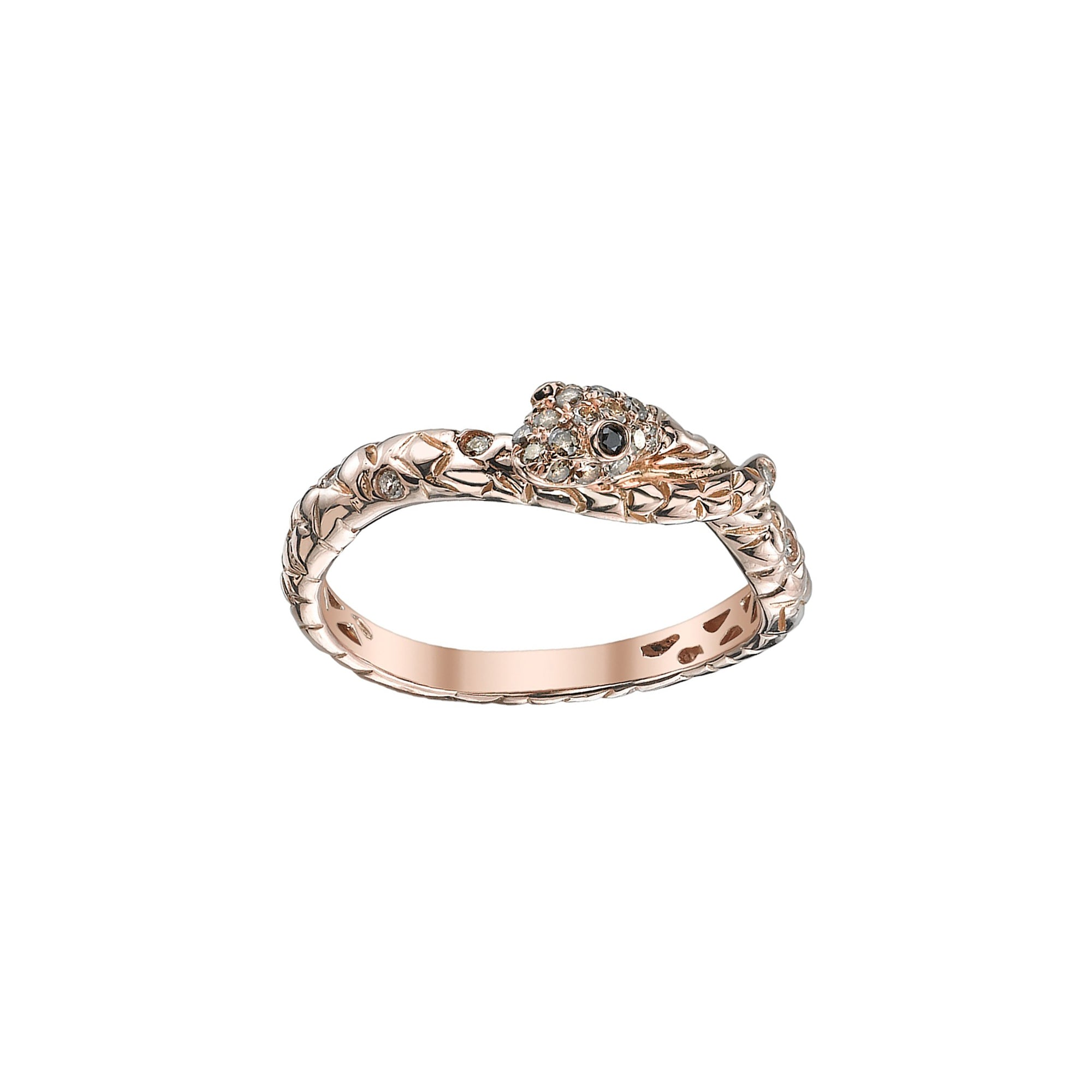 Rose Gold Diamond Snake Band by Borgioni for Broken English Jewelry