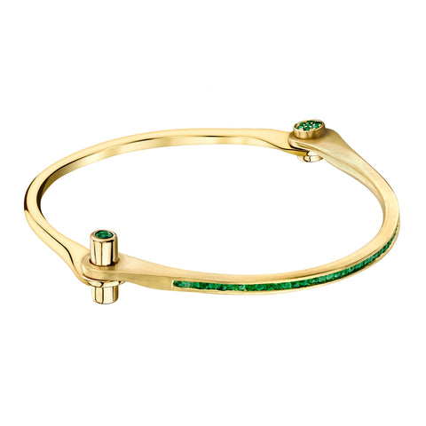 Pave Emerald Skinny Handcuff by Borgioni for Broken English Jewelry