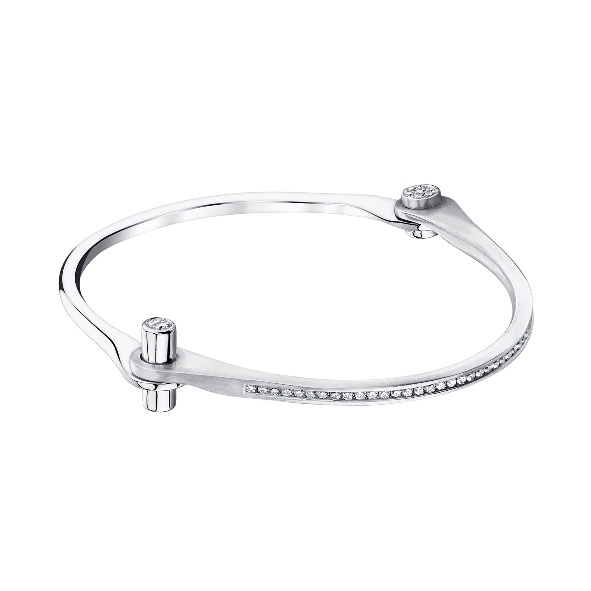 Pave Diamond Skinny Handcuff by Borgioni for Broken English Jewelry