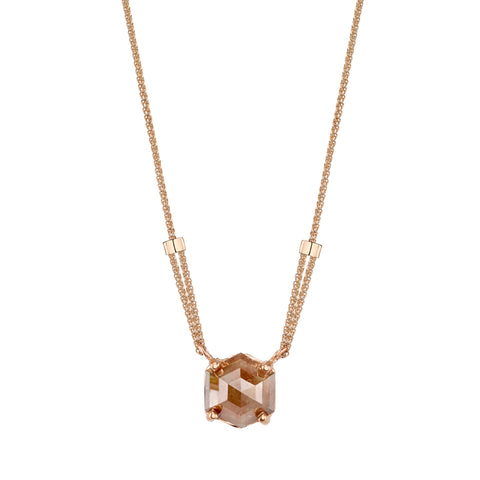 Gold & Rose Cut Opaque Diamond Necklace by Borgioni for Broken English Jewelry