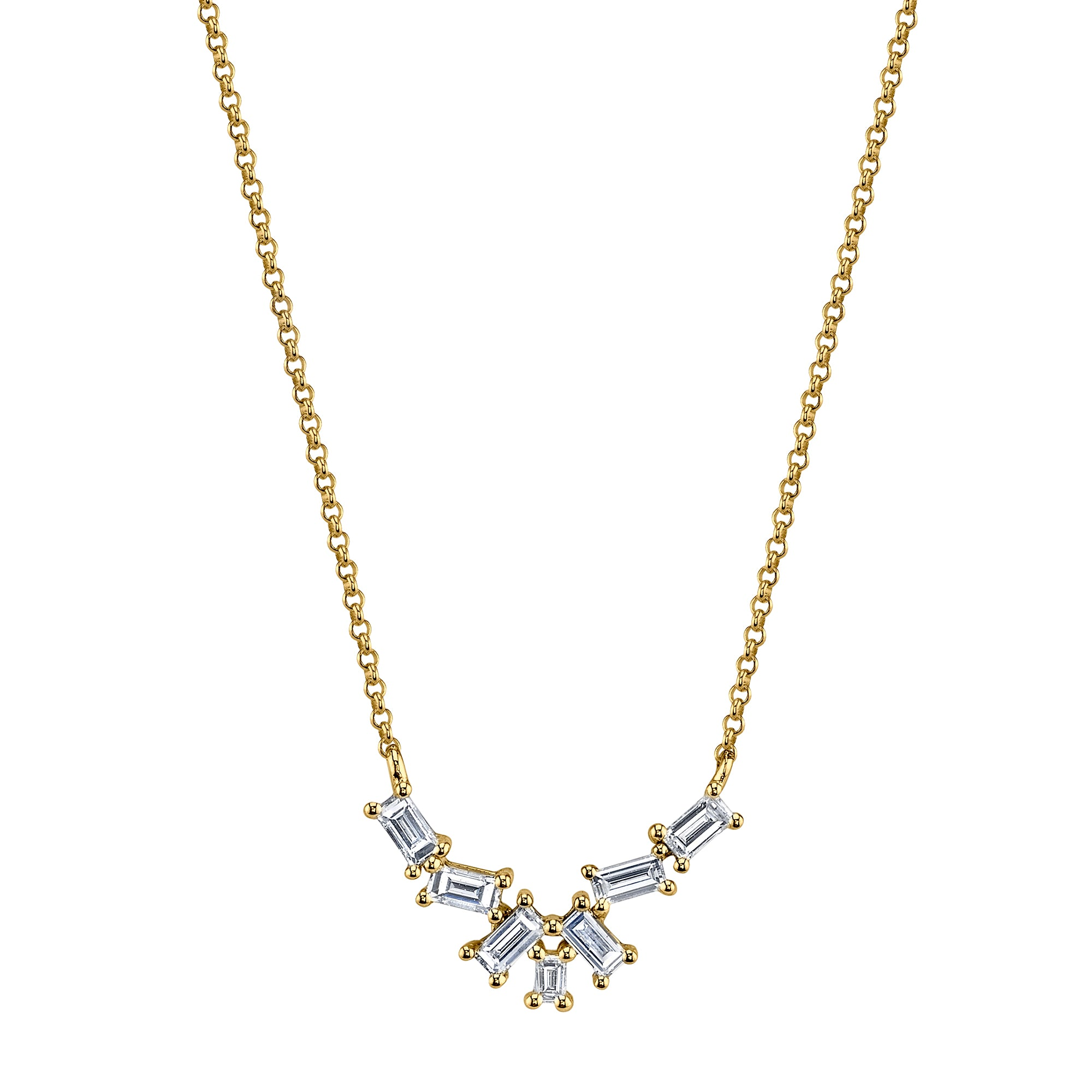 Gold & White Diamond Baguette Cluster Necklace by Borgioni for Broken English Jewelry