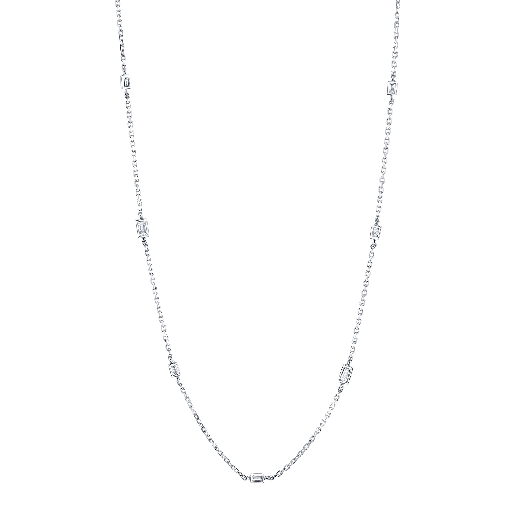 Gold & White Baguette Chain Necklace by Borgioni for Broken English Jewelry