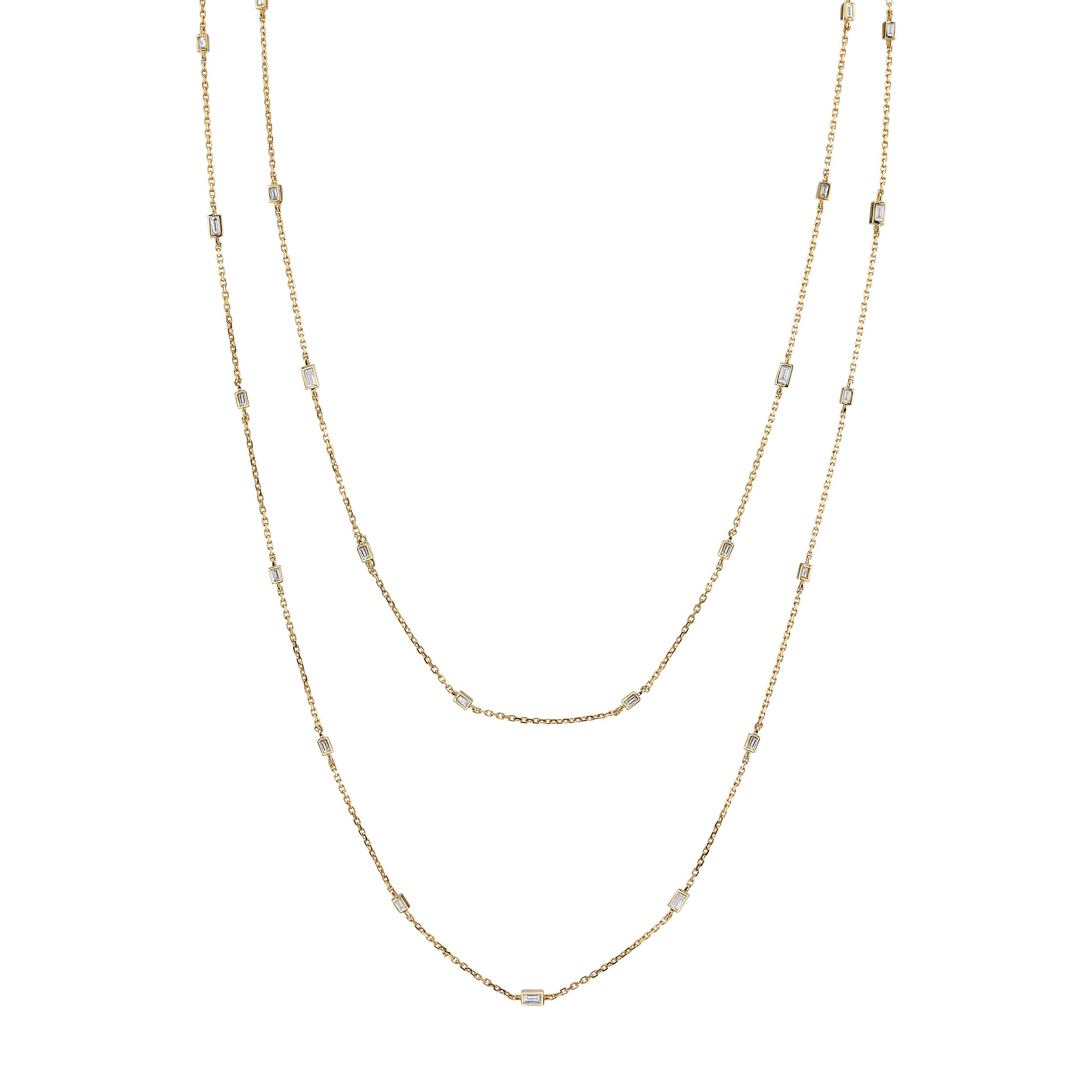 Gold & White Diamond Extra Long Baguette Chain Necklace by Borgioni for Broken English Jewelry