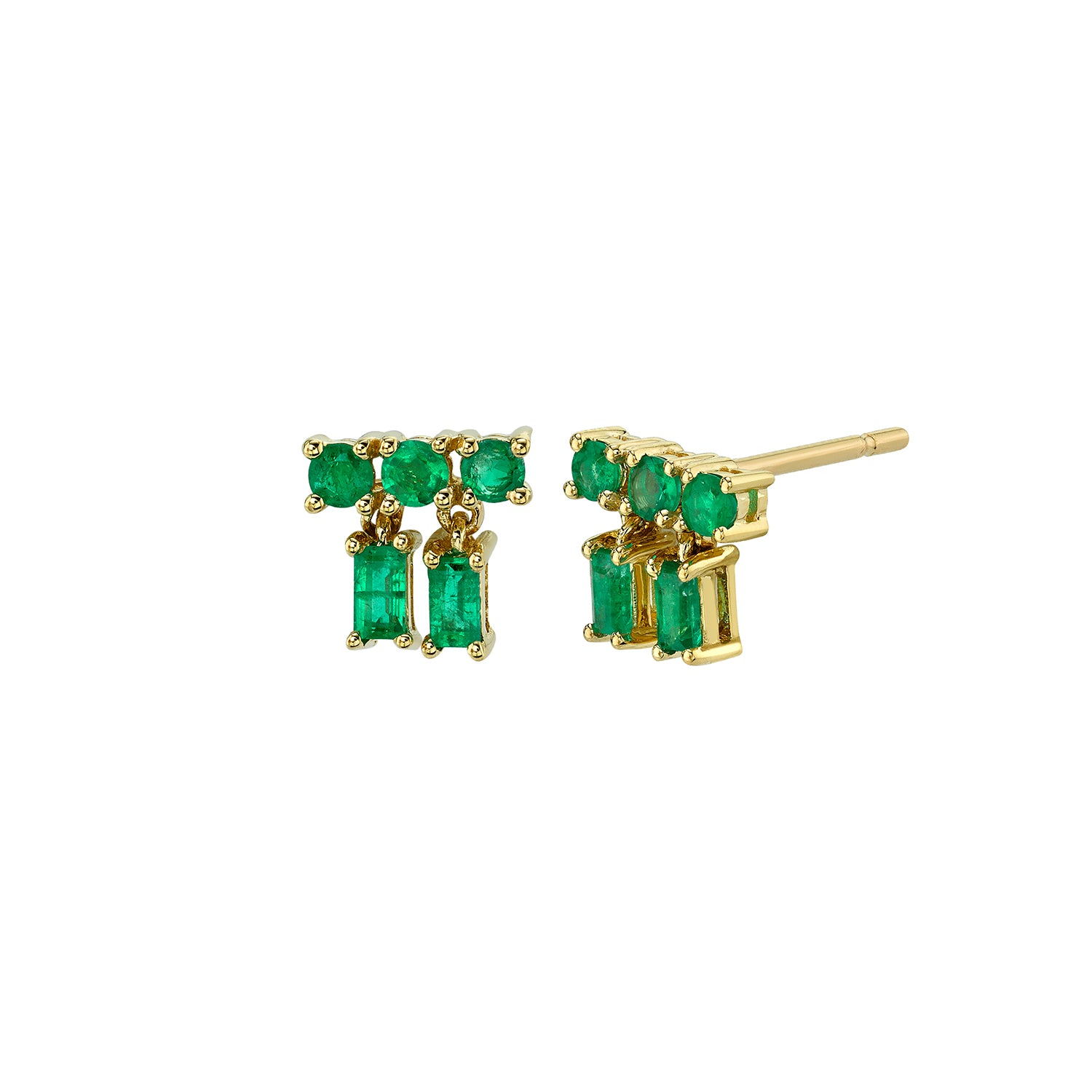 Mixed Cut Emerald Drop Studs by Borgioni for Broken English Jewelry