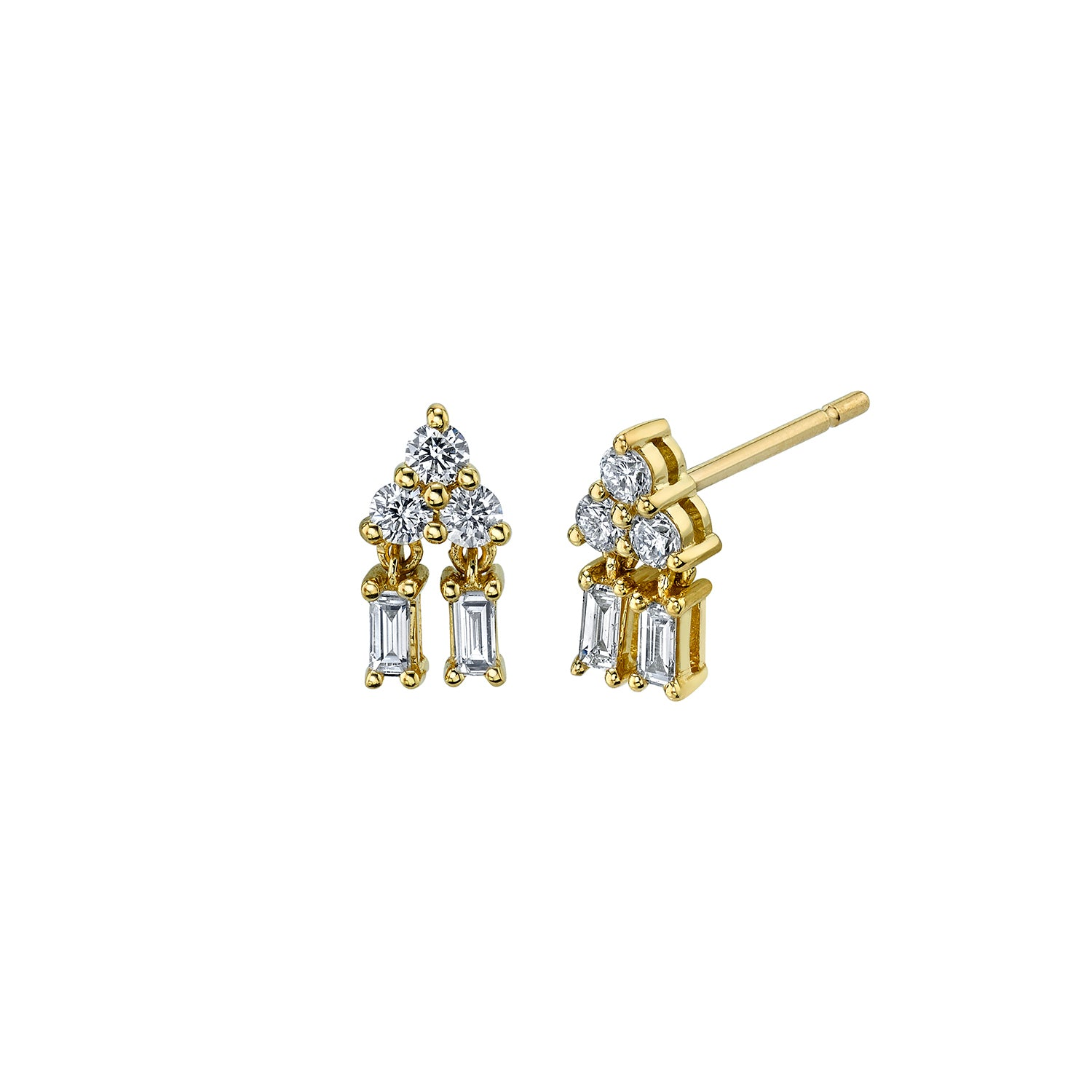 Pyramid Drop Diamond Studs by Borgioni for Broken English Jewelry