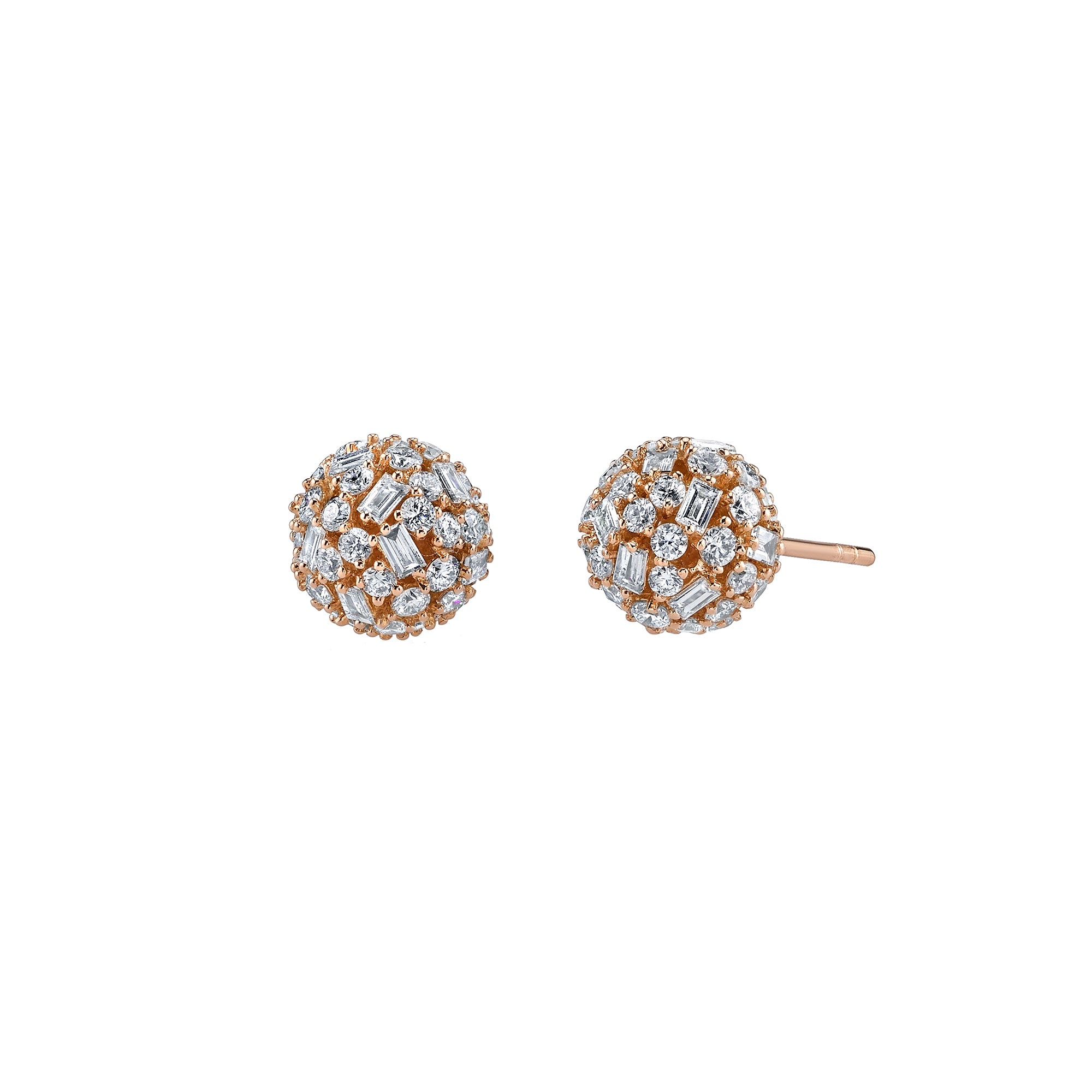 Gold Mixed Cut Diamond Ball Studs by Borgioni for Broken English Jewelry