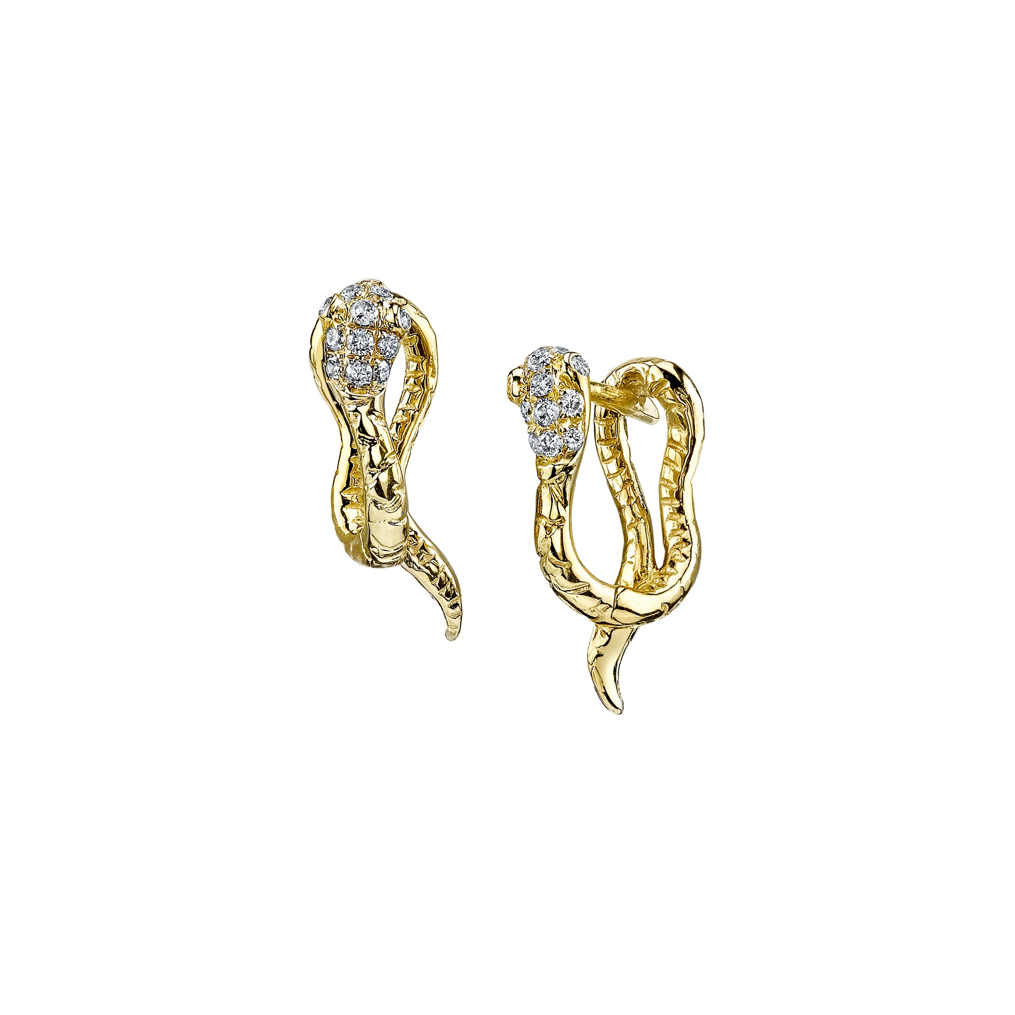 Gold & White Diamond Snake Huggies by Borgioni for Broken English Jewelry