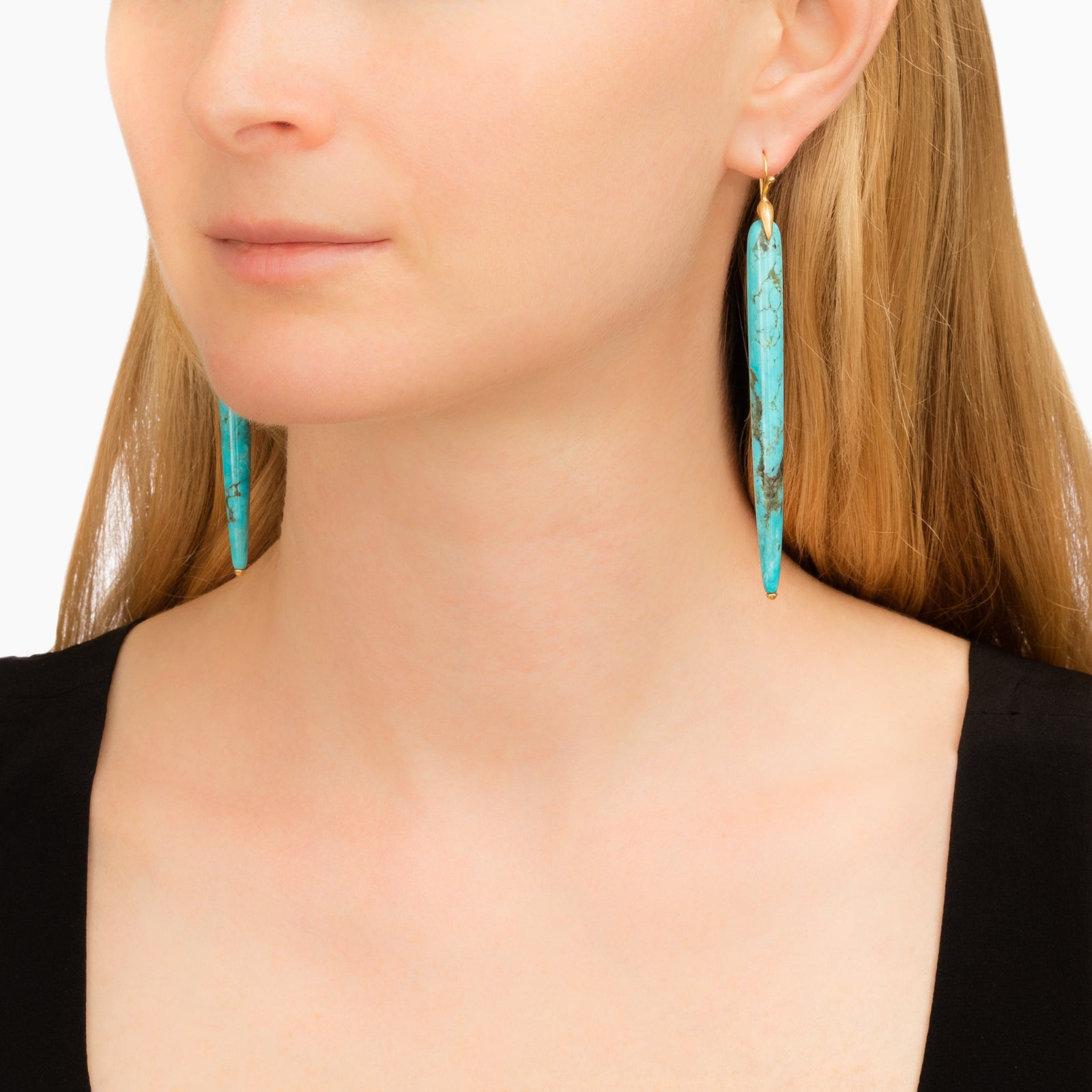 Sleeping Beauty Turquoise Long Simple Bird Earrings - Annette Ferdinansen - Earrings | Broken English Jewelry
