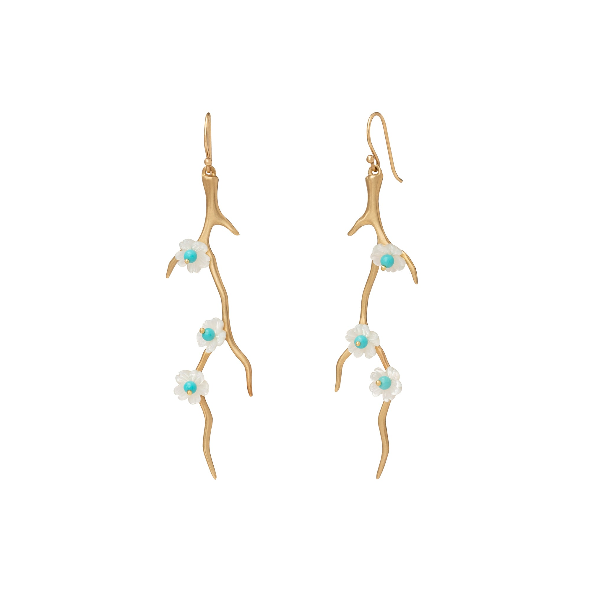 Mother of Pearl Blossom Branch Earrings - Annette Ferdinandsen - earrings | Broken English Jewelry
