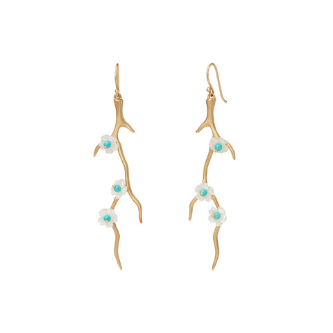 Mother of Pearl Blossom Branch Earrings