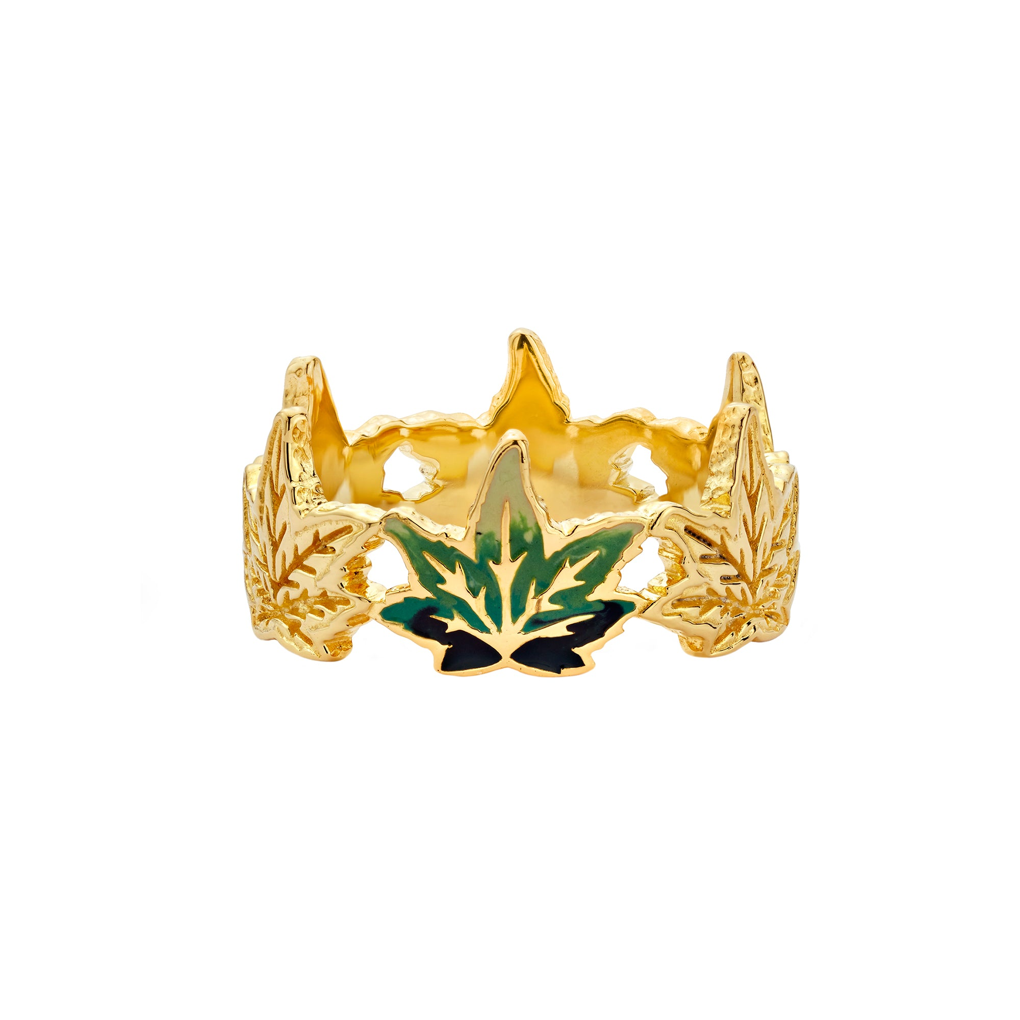 Enamel Weed Leaf Ring - Buddha Mama - Ring | Broken English Jewelry
