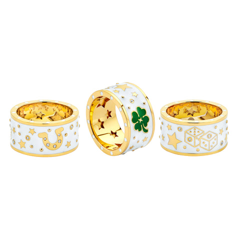 Gold Enamel White Diamond Lucky Band by Buddha Mama for Broken English Jewelry