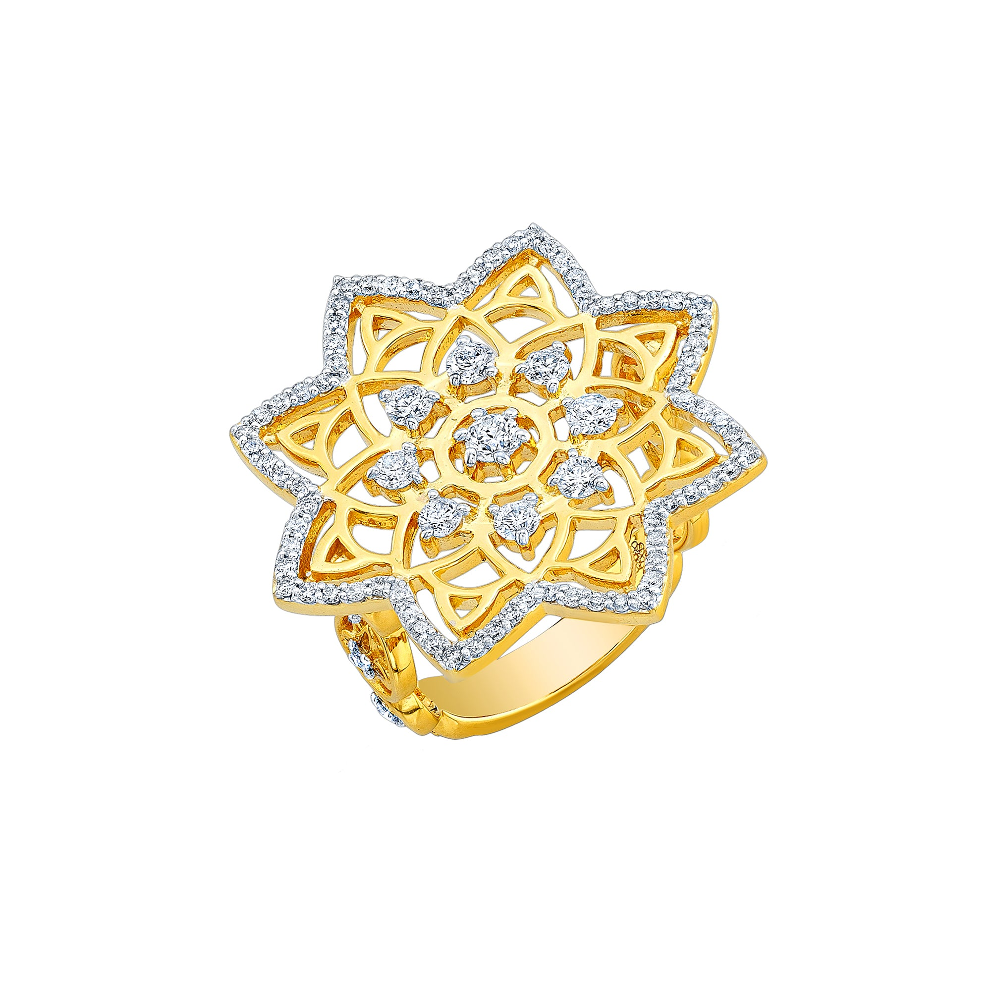 Gold White Diamond Mandala Wheels Star Ring by Buddha Mama for Broken English Jewelry