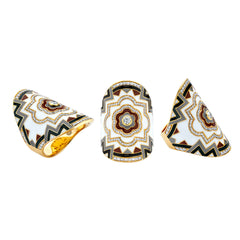 Gold White Diamond Wrap Enamel Ring by Buddha Mama for Broken English Jewelry