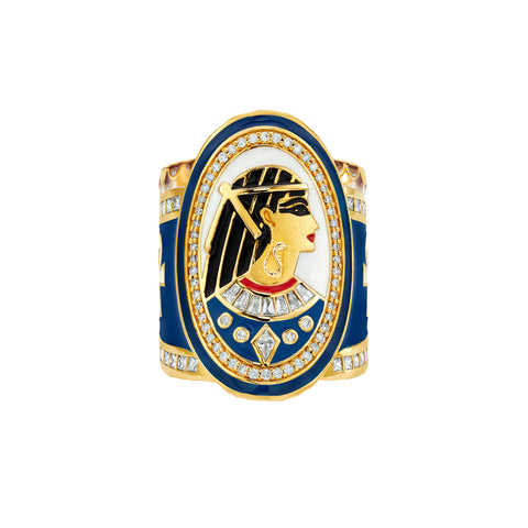 Gold Enamel White Diamond Goddess Issi Wrap Ring by Buddha Mama for Broken English Jewelry