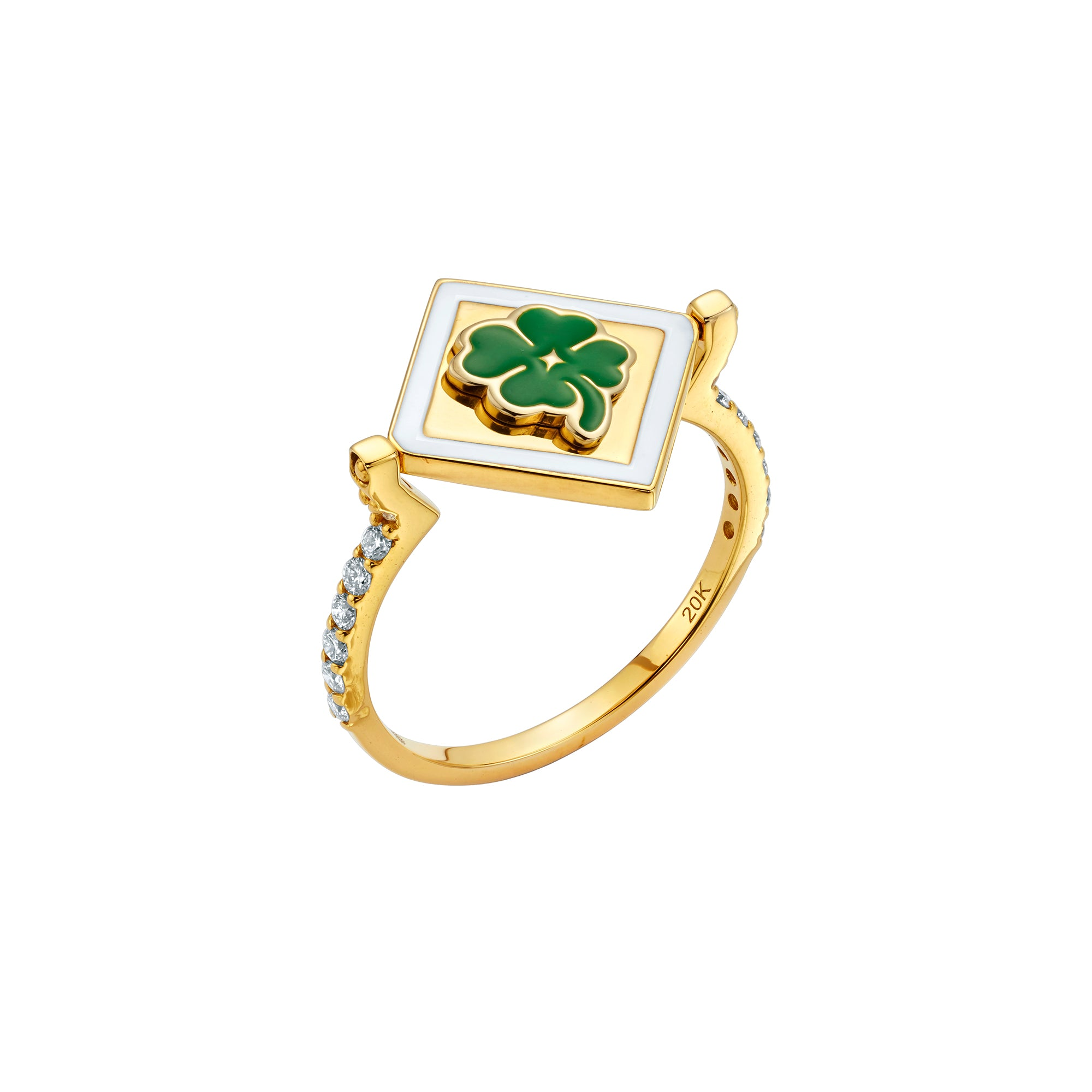 Gold Enamel White Diamond Flip Ring by Buddha Mama for Broken English Jewelry