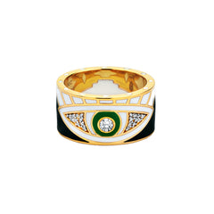 Gold & White Diamond Green Eye Enamel Band by Buddha Mama for Broken English Jewelry