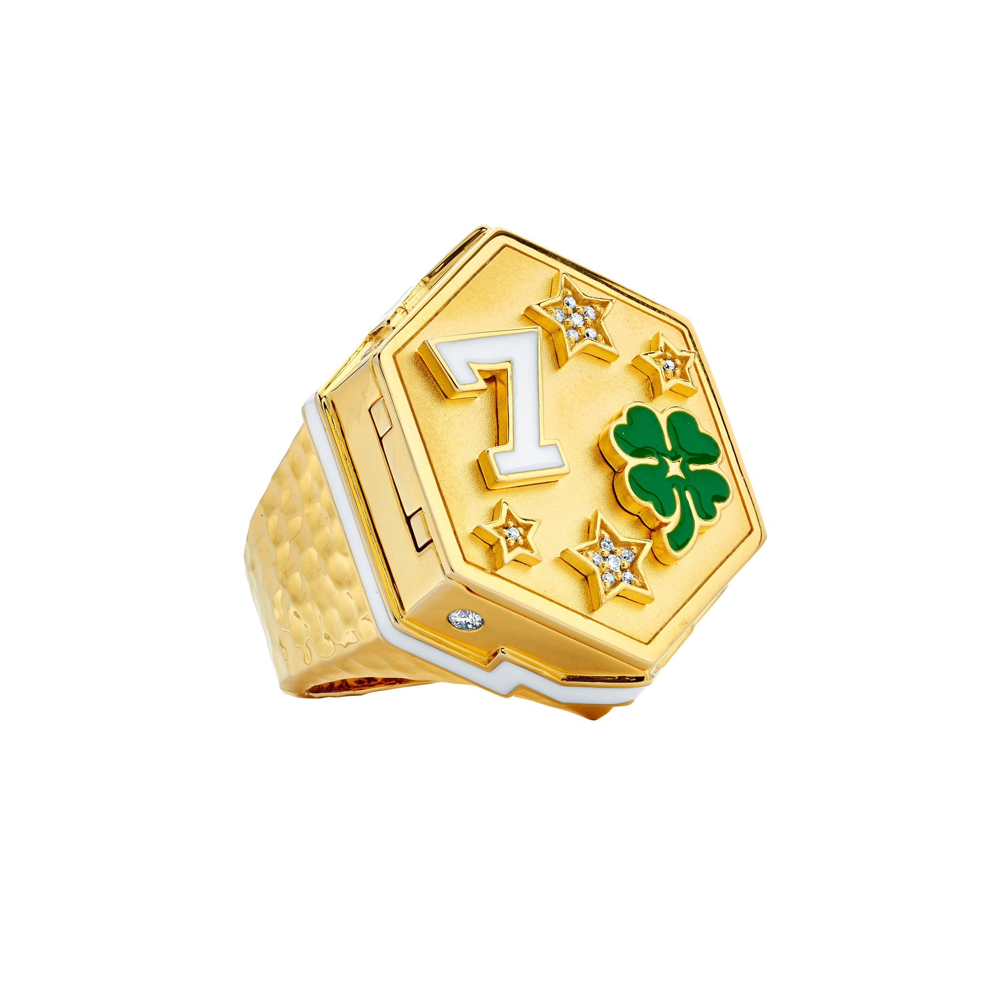 Gold Enamel White Diamond Lucky Locket Ring by Buddha Mama for Broken English Jewelry