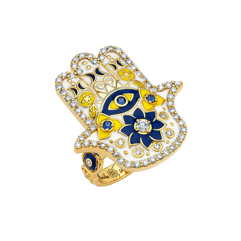 Gold Enamel Sapphire White Diamond Hamsa Ring by Buddha Mama for Broken English Jewelry