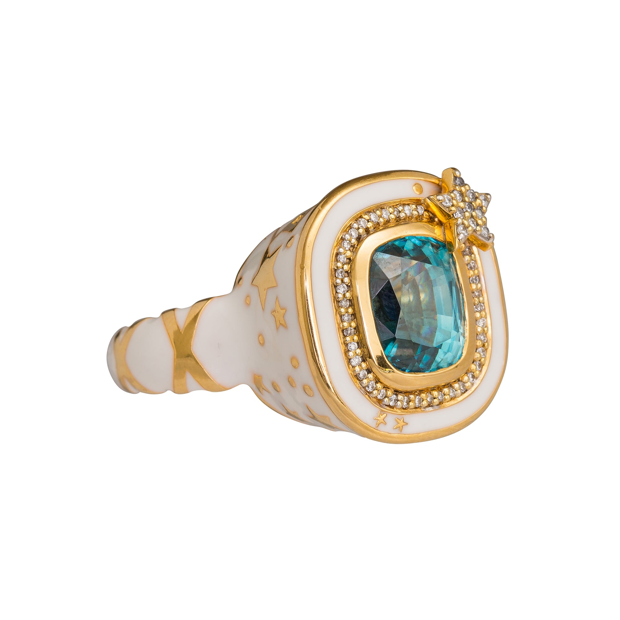 Zircon Lantern Box Ring by Buddha Mama for Broken English Jewelry