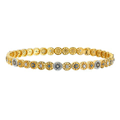 Gold Sapphire and Diamond Mandala Bangle by Buddha Mama for Broken English Jewelry