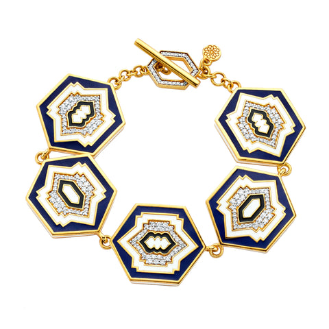 Gold & White Diamond Hexagon Toggle Bracelet by Buddha Mama for Broken English Jewelry