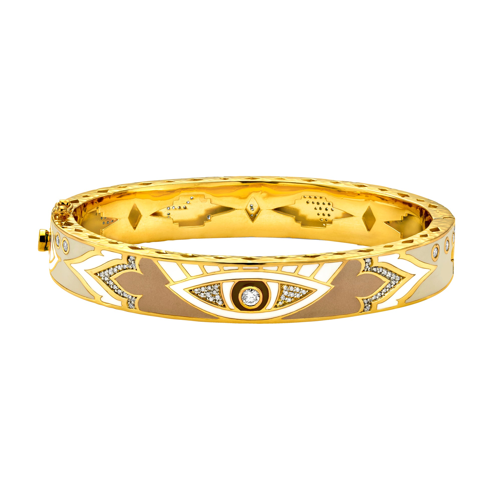 Gold Enamel White Diamond Evil Eye Bangle by Buddha Mama for Broken English Jewelry
